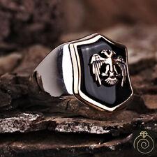 Mens Shield Ring Eagle Coat Arms Jewelry For Men Black Stone Customized Masonic