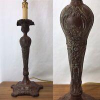 Vtg Table Lamp Victorian Art Deco Nouveau Repro Bronze Brass Buffet Candlestick