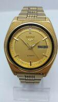 Watch Seiko 5 Vintage Men's Watch  Automatic RARE Crosshair GOLD DIAL Japan