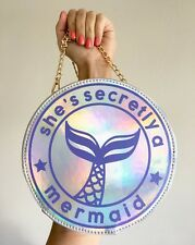 Mermaid Hologram Iridescent Silver Round Kawaii Harajuku Crossbody Bag Handbag