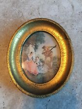 "Vintage Small Oval Gold Gilt Wood Italy Picture Frame w/ ""Music Lesson Picture"