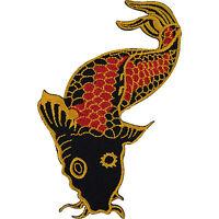 Japanese Koi Carp Fish Embroidered Iron / Sew On Patch Motorcycle Jacket Badge