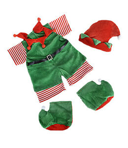 "Christmas Elf Teddy Bear Clothes Outfit Fits Most 14""-18"" Build-a-bear and Make"