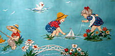 Antique childrens water play novelty fabric 1930s vintage curtain drape panel