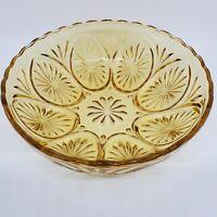 "Vintage Indiana Glass Bowl Amber Pressed Starburst Pattern Scalloped Rim 8""d"