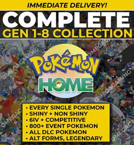 Pokemon Home COMPLETE Gen 1-8 Dex Shiny + Non, ALL DLC, Forms, GMax, Event