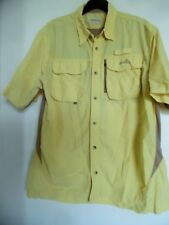 Natural Gear Men's Fishing Shirt Vented Short Sleeve Yellow Beige Large