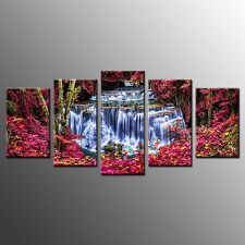 FRAMED Home Wall Art Decor Red Trees Waterfall Canvas Print Ready to Hang-5pcs
