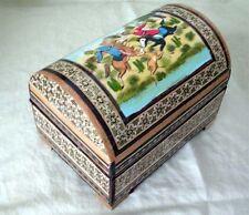 Persian Khatam Yakhchal Decor Jewelry Box Lined Esleemee Treasure Chest YA306