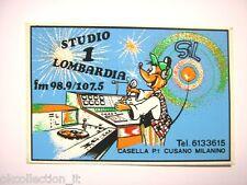 VECCHIO ADESIVO RADIO / Old Sticker _ RADIO STUDIO 1 LOMBARDIA (cm 12 x 8)