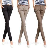 Womens Trousers Pants Skinny Fitted Belt Casual Office Long Cotton Cargo Size