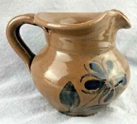 Williamsburg Pottery creamer Brown cobalt flower