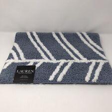 Lauren RALPH LAUREN Blue/White Bath Rug 17x24 inches Anti-Slip 100% Cotton