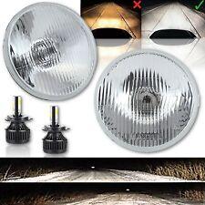 """7"""" Stock Glass Lens Metal Headlight 6v 6-Volt 6k LED H4 Light Bulb Headlamp Pair"""