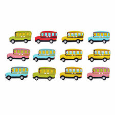 10 Novelty School Bus Wooden Buttons Kids Craft Knitting Sewing Toppers Cards