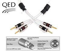 QED GENESIS Silver Spiral Cable Jumper Links 4 x 20cm AIRLOC Spades/Banana Plugs