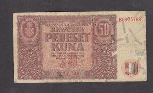 50 KUNA VG BANKNOTE FROM NAZI GOVERNMENT OF CROATIA 1941 PICK-1