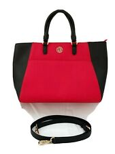 DKNY Red & Black Large Saffiano Leather Tote - Excellent
