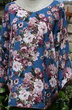 Plus size poncho style top, kimono sleeve, ocean blue color, floral, 1X-2X,3X-4X