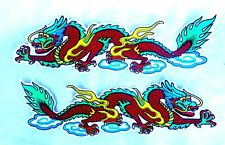 2 AUFKLEBER Sticker DRACHE Drachen Dragon China rot bunt farben xl - je 33x9 cm