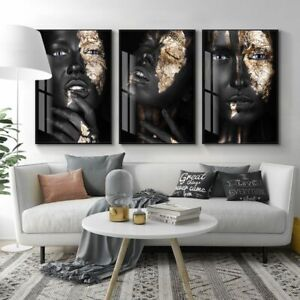 Black Dark Skinned Woman Portrait Canvas Painting Posters And Prints Wall Art
