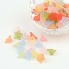 100PCS Transparent Acrylic Beads Frosted Flower Bead Caps Mixed Color 10x5mm