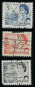 Perfin P19-PS (Province of Saskatchewan): 3 Centennial Issues - all position 4