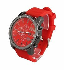 Large Dial Mens Unisex Big Face Wrist Watch Red Dial Silicone Relojes de Hombres