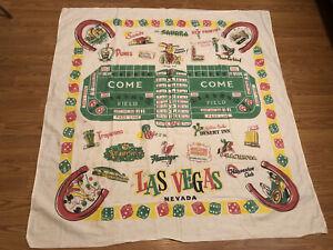 50s Vintage NEVADA Souvenir CACTUS CLOTH Tablecloth MID-CENTURY Cowboy LAS VEGAS