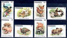 ANIMAUX D'ELEVAGE Rwanda 8 val de 1978 ** COCHON COQ CANARD LAPIN VACHE CHEVRE