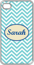 Monogrammed Aqua Blue Chevron Design iPhone 4 4S Hard Clear Case Cover