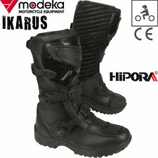 MODEKA Motorradstiefel IKARUS schwarz Leder wasserdicht Hipora CE Enduro Gr. 42