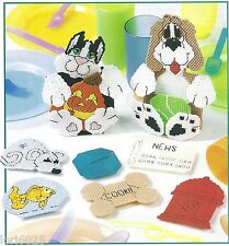 **KITTY & PUPPY COASTERS TO STITCH**PATTERN ONLY**PLASTIC CANVAS PATTERN**