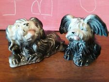Vintage Set Whimsical Japanese Chin Terrier Dog Salt & Pepper Shaker Figurine