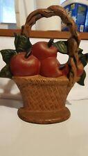 Cast Iron Door Stop, Basket of Apples, Vintage, Marked