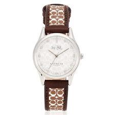 New Authentic Coach Women 30mm Case Logo Brown Strap Watch 14502332