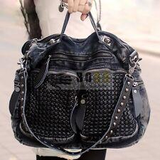 Women's Vintage Denim Bags Shoulder Bag Punk Motorcycle Handbags Hobo New
