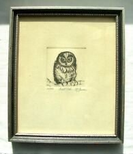 "Vintage matted and framed etching titled 'Night Owl"" by McGovern 20/30 late 1970"