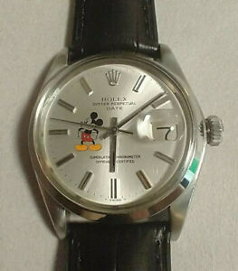 Vintage Rolex Date 1500 Oyster Perpetual Mickey Mouse Dial Mens 34mm Stainless
