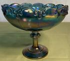Indiana Iridescent Blue Carnival Glass Large Pedestal Fruit Bowl Garland Pattern