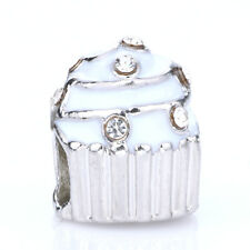 925 Silver Cupcakes White CZ Crystal Loose Spacer Charm Bead Fit Bracelet