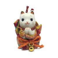 Gato Japonés 65mm Oración Maneki Neko Estuche Porcelana Fabricado en Japón 40592