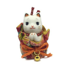 Chat Japonais 65mm prière Maneki Neko pochette porcelaine Made in Japan 40592