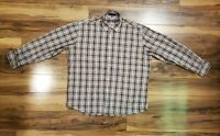 Alan Flusser Mens Plaid Long Sleeve Button Down Shirt Brown Size Large