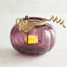 Pier 1 Imports Tealight Holder Pumpkin Purple Glass Candle New
