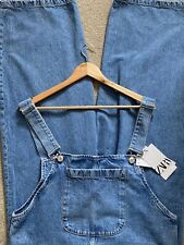 ZARA Insta Wide Leg Cropped Denim Jumpsuit Dungarees Size S Bloggers Fave
