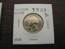 1955 D  WASHINGTON SILVER QUARTER  GEMBU  GRADE