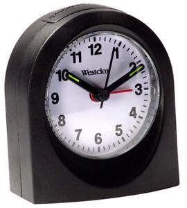 Westclox Echo Analog Quartz Travel Snooze Black Alarm Clock 47312