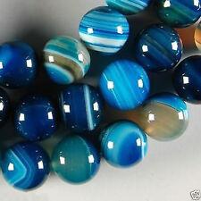 "6MM Stripe Agate Onyx Round Gemstone Loose Beads 15"" BLUE"