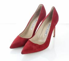 02-16 $665 Women's Sz 37.5 M Manolo Blahnik BB Suede Pointy Toe Pumps In Red